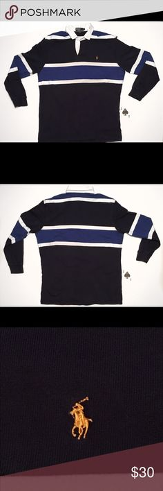 "Vtg Polo Ralph Lauren Blue/White Color Block Rugby Vintage Polo Ralph Lauren Blue & White Color Block Long Sleeve Rugby, Size Large. This Classic Style Polo Rugby Is In Great Used Condition With No Tears And Little To No Stains, Please See Photos.   Measurements: Armpit To Armpit-24"" Length-31"" Sleeve ( Shoulder Seam To Cuff)-24"" Polo by Ralph Lauren Shirts Polos"