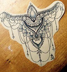 Mendhi tattoo for sternum tattoo Stomach Tattoos, Future Tattoos, Sexy Tattoos, Body Art Tattoos, Girl Tattoos, Sleeve Tattoos, Tattos, Sternum Tattoo, Lace Tattoo
