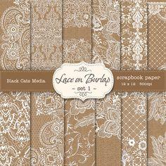 Burlap and Lace Digital Paper: Burlap Wedding by BlackCatsMedia