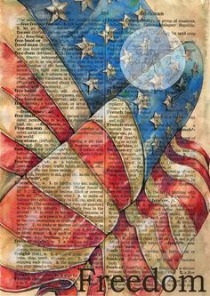 American Flag Mixed Media Drawing on Distressed Parchment Paper -flying shoes art studio Vintage Diy, Vintage Shoes, Dictionary Art, Medium Art, Mixed Media Art, Mix Media, Altered Art, Washi, American Flag