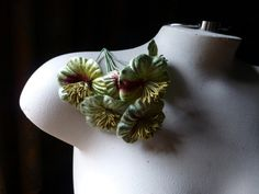 Velvet Flowers YoYo Millinery Flowers in Green by MaryNotMartha