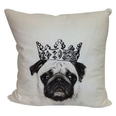Crowned Pug Pillow