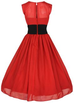 Lindy Bop 'Serena' Elegant Vintage 1950's Chiffon Prom Dress, Ball Gown (XS, Red)