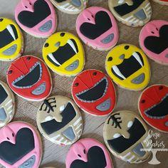 """Power ranger decorated sugar cookies with the yellow power ranger, red power ranger, white power ranger, and the pink power ranger cookies  57 Likes, 1 Comments -  Gigi Bakes  (@gigibakescakes) on Instagram: """"Go Go Power Rangers!!! #powerrangercookies #sugarcookies #decoratedsugarcookies #decoratedcookies…"""""""