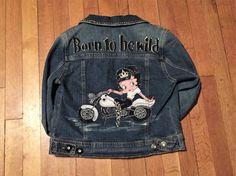 Hand painted Betty Boop denim jacket. by Nannygoatskids on Etsy