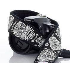 dSLR Camera Strap Sugar Skulls Canon Nikon Camera Neck by ten8e