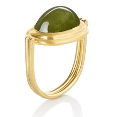 22k yellow gold and 14.11ct jade double band ring