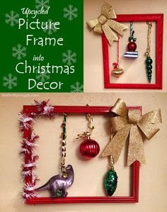 Upcycled Picture Frame into DIY Hanging Christmas Decor