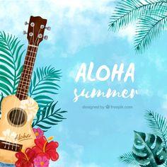 Акварельный алоха фон с гавайской гитарой Бесплатные векторы