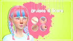 """pastel-sims: """" ♡ Bruises & Scars Teen - Elder. Male & Female. Found under 'skin details.' Has multiple swatches. Disabled for random. ♡ DOWNLOAD ♡ TOU; Do not upload to any pay sites or claim them as your own. (つ•̀ᴥ•́)つ Enjoy! """""""