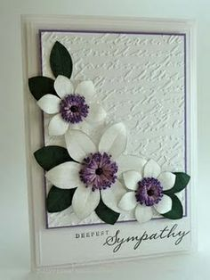 paper flowers, embossed background birthday-cards