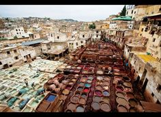 Fez, Morocco. This is a tannery where they make the beautiful moroccan leather. But, boy, did it stink!!