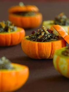 Wild Rice Stuffed Mini Pumpkins......so cute and fun!