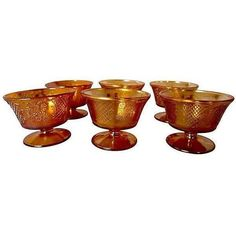 Antique Carnival Glass Sherbert Cups - Set of 6 ($95) ❤ liked on Polyvore featuring home, kitchen & dining, drinkware, tabletop, glass cup and glass drinkware