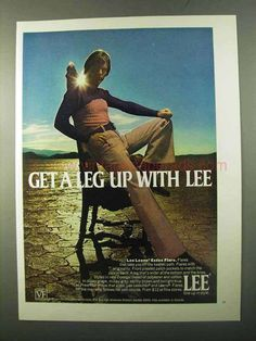 1971 Lee Leens Essex Flare Pants Ad - Get a Leg Up-This is a 1971 ad for a Lee Leens Essex Flare Pants! The size of the ad is approximately The caption for this ad is 'Get a leg up with Lee' The ad is in great condition. This vintage ad Vintage Advertisements, Ads, Lee Jeans, Present Day, Flare Pants, Vintage Men, Corduroy, Men's Fashion, Denim