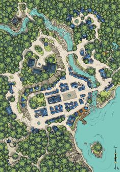 Fantasy City Map, Fantasy World Map, Fantasy Town, Dnd World Map, Rpg World, Dungeons And Dragons Homebrew, D&d Dungeons And Dragons, Pathfinder Maps, Village Map