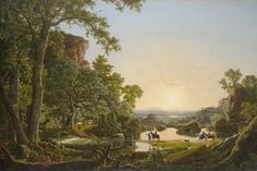 """Frederic Edwin Church's """"Reverend Thomas Hooker and Company Journeying through the Wilderness in 1636 from Plymouth to Hartford,"""" purchased by the Wadsworth Atheneum in 1850."""