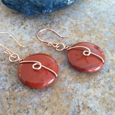 Earrings Handmade Just sold a pair of these red Wire Wrapped Jewelry, Wire Jewelry, Jewelry Crafts, Jewelery, Jewelry Ideas, Wire Earrings, Earrings Handmade, Handmade Jewelry, Stud Earrings