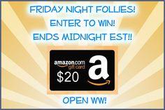 Flash Friday Night EVENT! #win $20 Amazon GC!! Open ww! ends midnight est!