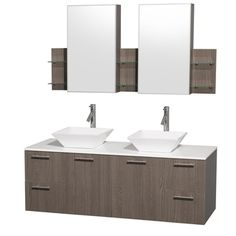 @Overstock - Modern lines and a truly elegant design aesthetic define this Amare double vanity set from the Wyndham Collection. Two geometric, white porcelain basin sinks sit atop man-made stone then combine with grey oak-finished wood to complete this bathroom decor.http://www.overstock.com/Home-Garden/Wyndham-Collection-Amare-60-inch-Grey-Oak-White-Top-White-Sink-Vanity-Set/7666829/product.html?CID=214117 $1,499.00
