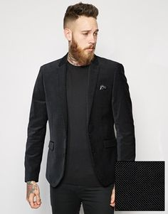 Enlarge ASOS Slim Fit Blazer In Polka Dot Velvet Saved Items f876d03a3