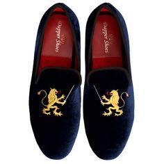 Men's Velvet Slippers | Embroidered | Dapper Outfitters