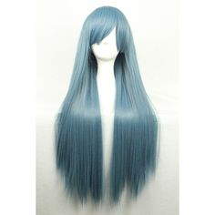 Dark Green Harajuku Heat Resistant Long Straight Anime Cosplay Wig ($24) ❤ liked on Polyvore featuring beauty products, haircare, hair styling tools and hair
