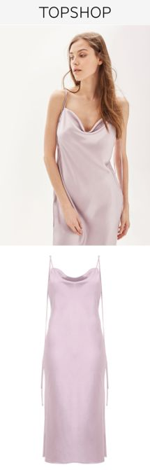 Cowl Neck Slip Dress by TOPSHOP BRIDE - This beautiful lilac style has a lustrous satin-effect appearance, and is detailed with an elegant cowl neck to draw flattering attention to your shoulders and décolletage. Pearl-embellished straps and covered buttons are the perfect finishing touches.