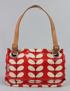 Orla Kiely Red Beige Coated Canvas Floral Print Leather Brown Strap Handbag