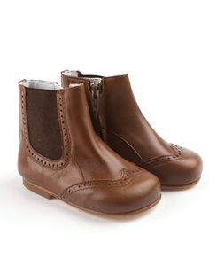 750886280c6a4 Handmade cognac colored brogues toddler ankle boot from Eli. Easy putting  on and off because of the elastic and the side zipper.