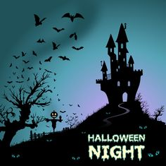 happy halloween background with haunted house and bats vector free - Halloween Background Images Free