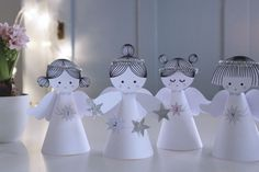 angel angels paper modern look - 4 Advents Engle engel – DIY KIT Homemade Christmas Decorations, Diy Christmas Tree, Christmas Angels, Xmas Decorations, Christmas Projects, Preschool Decor, Christmas Activities For Kids, Angel Crafts, Paper Crafts Origami