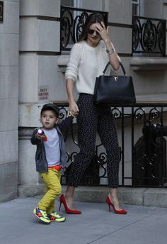 On Miranda Kerr: Angora sweater, patterned trouser in a classic shape and a classic heel in red to add a pop of colour.