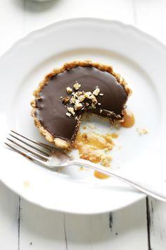 Walnut, Caramel, and Chocolate Ganache Tartelettes