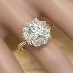 Antique Victorian 14K Yellow Gold Clustered Flower Diamond Engagement Ring #aromabotanical