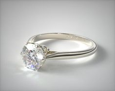 14k White Gold Six Prong Royal Crown Engagement Ring | 17315W14 - Mobile