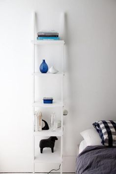 Au Lit Fine Linens | 7 Chic Alternatives to a Bedside Table | White ladder with styled shelves