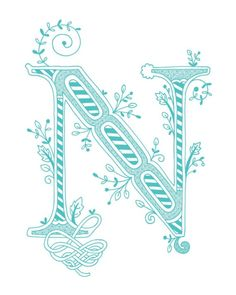 Items similar to Hand drawn monogrammed print, the Letter N, in the color green on Etsy Fancy Letters, Letters And Numbers, Letter N, Fancy Fonts, Illuminated Letters, Green Colors, Color Blue, Cross Stitch Embroidery, Coloring Pages