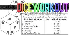 Leave your exercise down to the roll of a dice! A fun way to get fit! Leave your exercise down to the roll of a dice! A fun way to get fit! 30 Day Fitness, Fitness Tips, Health Fitness, Kids Fitness, Fitness Classes, Fitness Challenges, Group Fitness, Fitness Workouts, Fit Girl Motivation