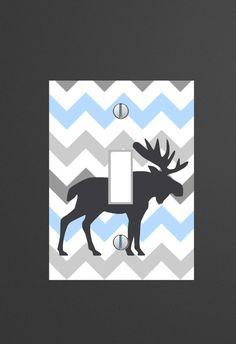 Moose Rustic Chevron Gray and Blue Light Switch от JerryTitanArt