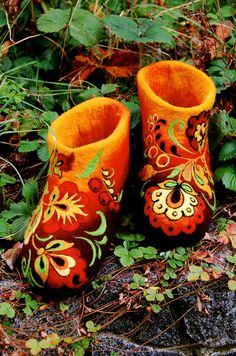 Felted Low shoes Fairy Flowers Khokhloma by IrinaU on Etsy, $150.00