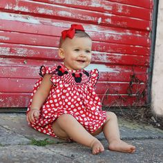Smocked Minnie Bubble from Smocked Auctions. Red and white polka dot.