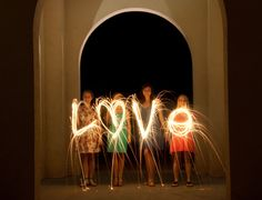 Light painting with photography - Bridesmaids and Bride @ Rehearsal Dinner