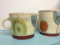 Mugs by Kari Radasch redware on Etsy