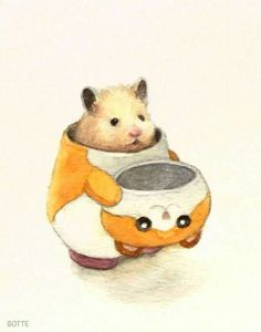 Japanese Artist Depicts the Typical Life of His Hamster Impressive Strange Funny Super Cute Animals, Cute Baby Animals, Cute Animal Drawings, Cute Drawings, Japanese Hamster, Art Mignon, Cute Hamsters, Poses References, Cute Animal Videos