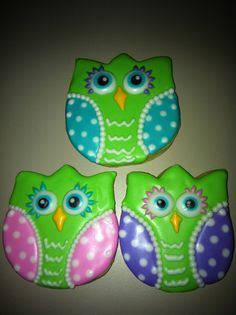 Owl cookies from tulip cookie cutter.