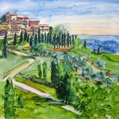 Hill Town watercolor by Jill Stefani Wagner