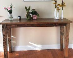 Solid Wood Sofa Table Entryway Table Buffet Table Built | Etsy Farmhouse Sofa Table, Rustic Sofa Tables, Wood Sofa Table, Rustic Kitchen Tables, Solid Wood Table, Solid Wood Furniture, Entryway Tables, Pub Height Table, Pottery Barn Style