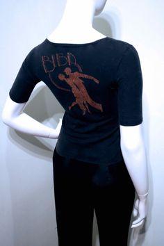 Vintage 1973 BIBA Rare Front and Back Glitter Print T-Shirt // Rainbow Room Dancing Couple Logo