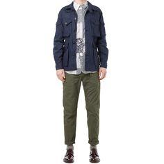Engineered Garments SS 2015Explorer Jacket - Linen // Dark Navy19th Century Button Down - Patchwork Print // NavyFatigue Pant - Cotton Ripst...